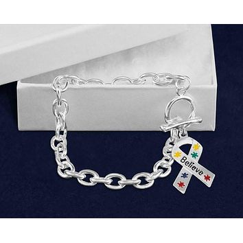 Believe Puzzle Piece Ribbon Chunky Charm Bracelet for Heart Disease Awareness