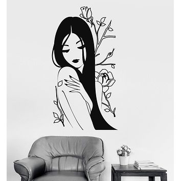Vinyl Wall Decal Flower Rose Naked Beautiful Japanese Girl Spa Stickers Unique Gift (816ig)