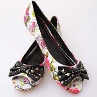 Iron Fist Creepy Rose Flats - White