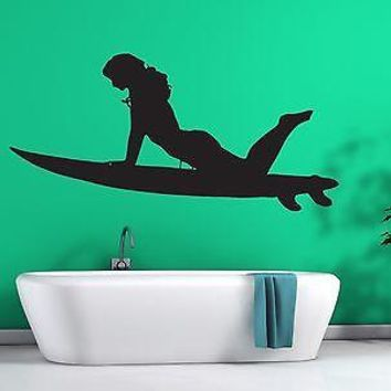 Wall Sticker Vinyl Decal Sexy Girl Surfer Slim Athletic Figure Unique Gift (n176)