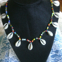 Seashell Necklace - Shell and Beaded Necklace - Colorful Bead Necklace with Shells - Rainbow Beads and Cowrie Shells Necklace