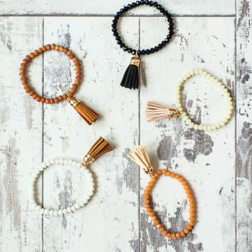 Classic Tassel Bracelet- Available in Camel, Black, Cream, Camel/Cream, White/Camel