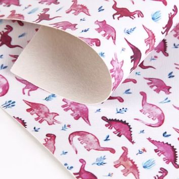 Pink dinosaur faux leather fabric sheet