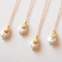 Beach Wedding Necklaces - Beach Bridesmaids Necklaces - Beach Bridesmaids Jewelry - Coin Pearl Necklaces - Gold Shell Pearl Charm Necklaces