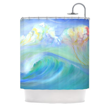 """Theresa Giolzetti """"Jelly Fish"""" Blue Teal Shower Curtain"""