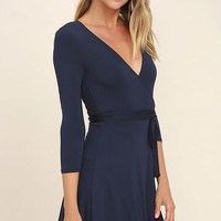 Twirl-Worthy Navy Blue Wrap Dress