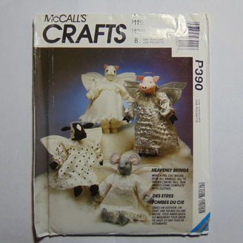 McCall's Craft Sewing Pattern P390 Heavenly Beings Cat Mouse Pig Cow Angel Animals