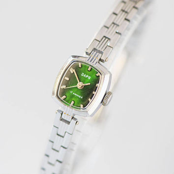 Tiny women's watch green face, silver shade lady's watch bracelet, cocktail watch bracelet, wristwatch rectangular small, party watch lady