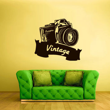 Wall Decal Vinyl Sticker Decals Film Photo Camera Canon Nikon Retro Old School Vintage Sign Ribbon (z2465)
