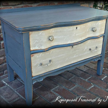 Distressed Antique dresser, shabby chic dresser, French stenciled dresser, 2 drawer dresser, Rustic dresser, blue dresser, painted dresser