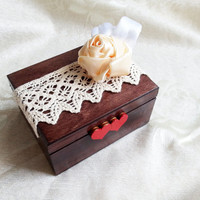 Cream brown red ecru rustic wedding rings box writing satin rose bud burlap cotton lace vintage custom