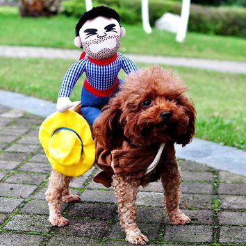 Novelty Funny Halloween Dog Costumes Pet Clothes Cowboy Dressing up Jacket Coats for Small Medium Large Dogs Chihuahua Yorkshire