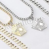 "Iced Out Micro Pave Playing Cards Pendant w/ 18"" Tennis / 30"" Cuban Chain"