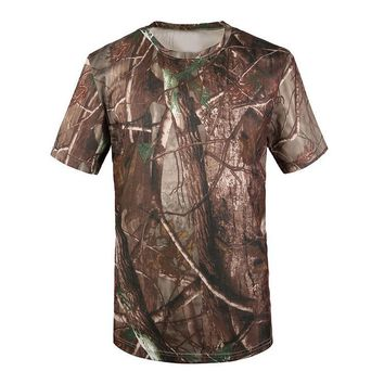 SYB New T-shirt Men Breathable Army T actical Combat T Shirt Military Dry Camo Camp Tees-Tree camouflage