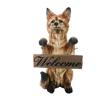 16 Inch Standing Fox with InchWelcome Inch Sign Statuary