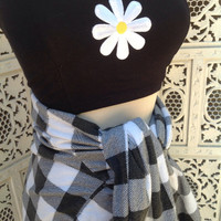 Daisy Patch Bandeau Cropped Sweetheart neckline Flower Festival Boho top //SuzNews Etsy Store//