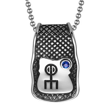 Unique Rune Norse Love Powers Ancient Amulet Royal Blue Crystal Magic Runic Tag Pendant 22 inch Necklace