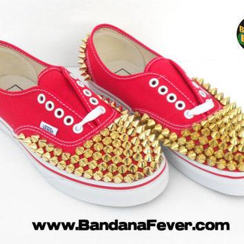 Bandana Fever Custom Studded Vans Authentic Red Gold Round Pyramid Studs
