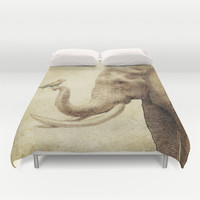 A New Friend (sepia drawing) Duvet Cover by Eric Fan