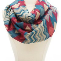 Chevron Pattern Infinity Scarf by Charlotte Russe - Blue Combo