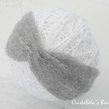 Fall Winter knit head wrap in Mist gray, knit ear warmer