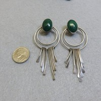 Sterling and Malachite Drop Pierced Earrings, Mexican Sterling Earrings, Big and Bold