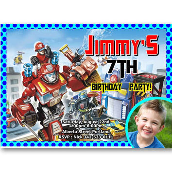 Transformers Rescue Bots Polka Dot Teal Kids Birthday Invitation Party Design