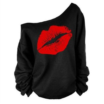 CREYHY3 female t-shirt 2016 Newest Euro Fashion Casual Long sleeve women's T-shirts Red lips sexy oblique pattern Tops tee shirt femme