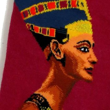 CREYV2S MENS EGYPTIAN NEFERTITI EGYPTOLOGY ART SOCKS UK SIZE 6-10 / EUR 39-45 / US 8-11