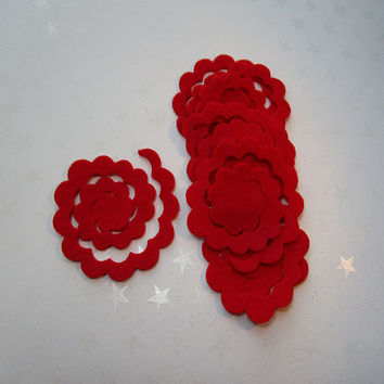 1 dozen red felt flower rosette, DIY, felt die cut out, felt flower, rose cut out, bouquets, small felt 3D roses, embellishment, handmade