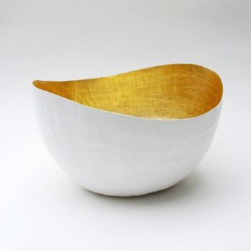 Paper Mache  Vessel in White and Gold - The Wavy - Made to order