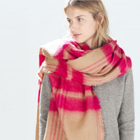 Pink Plaid Long Scarf