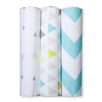 Muslin Swaddle Blankets Triangles 3pk - Cloud Island™ - Gray