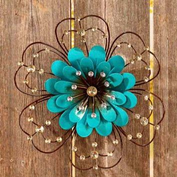 Jeweled Embellished Metal Flower Wall Art Sculpture Indoor/Outdoor Decor-Blue