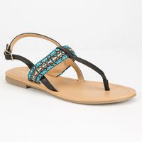 SODA Embroidered Womens T-Strap Sandals | Sandals