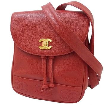 Auth CHANEL Chain Back Pack Triple CC mark Caviar skin Red GHW 90's Vintage Bag