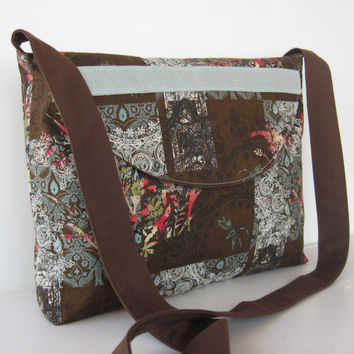 Messenger Bag in Brown and Blue Daragonfly by jazzygeminis on Etsy