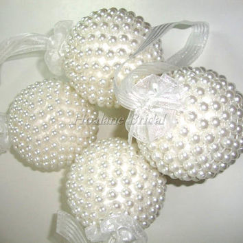 Flower girl Kissing Bals, pearl balls, Pomander for wedding, Flower girl accessory, Wedding Decoration