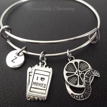 I Love movies ticket bracelet, Stainless Steel Expandable Bangle, monogram personalized item No.233