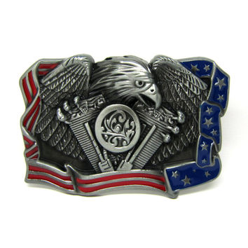 Eagle American Flag Motorcycle Engine Belt Buckle $1 for Every Sale Goes to Semper K9 Assistance Dogs