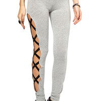 Solid Color Bandage Splicing Leggings