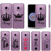 Trendy King queen Lovers Case Coque For samsung galaxy S9 S8 Plus S6 S7 Edge Note 8 Phone Case Cover For samsung galaxy s9 s8 plus case AT_94_13