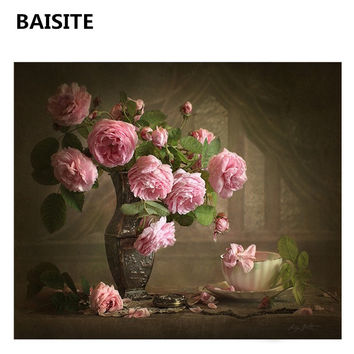 BAISITE DIY Oil Painting By Numbers Frameless Picture On Canvas Modern Wall Painting For Living Room Wall Art Home Decor H538