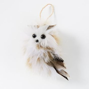 White Feather Owl Ornament