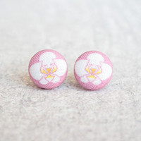 Orchid Fabric Button Earrings