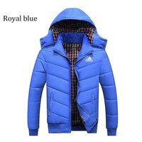 ADIDAS autumn and winter men's thick hooded casual windproof sports jacket plus velvet padded jacket Royal blue