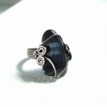 Black statement ring hawk eye rustic copper ring stone statement natural jewelry