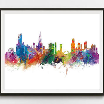 Chicago Print, Chicago Skyline, Illinois Poster, Wall Art, Chicago Art, USA, Cityscape, Landmark, Gift, Travel, Home Decor, Urban, Download