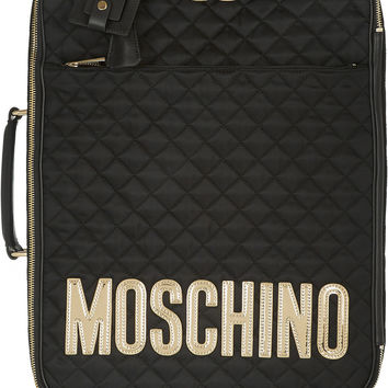 Moschino | Leather-appliquéd quilted satin-shell travel trolley | NET-A-PORTER.COM