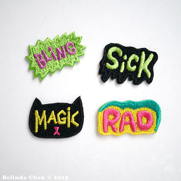 Bling / Cat Magic / Sick / Rad Set of 4 Mini Iron On Patches